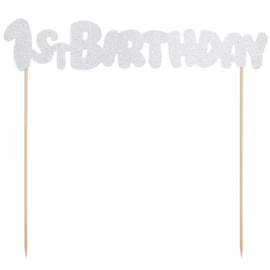 PartyDeco Cake Topper 1st Birthday - Zilver