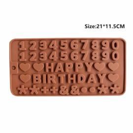 Chocoladevorm Happy Birthday verjaardag siliconen vorm