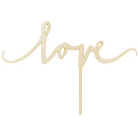 PartyDeco Houten Cake Topper - Love