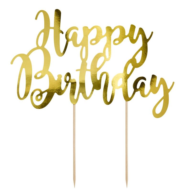 PartyDeco Cake Topper Happy Birthday - Goud
