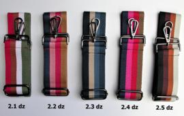Designerstyle schouderriem 4 strepen (5 kleurencombi's) donkerzilver