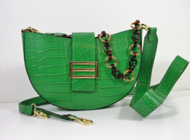 IT BAG halfronde crossbody crocoprint 3 schouderhengsels groen