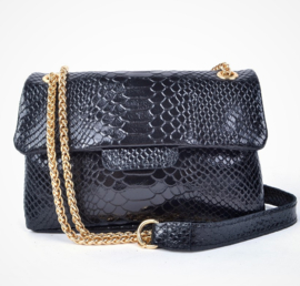 IT BAG Leren designerstyle schoudertasje snakeprint zwart gloss