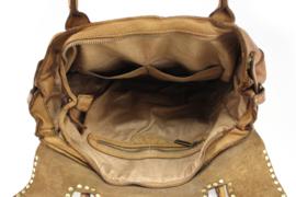 Vintage leren schoudertas / werktas met flap en studs bruin