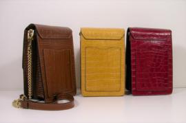 Stijlvol leren schoudertasje voor telefoon e.d. crocoprint (3 kleuren)