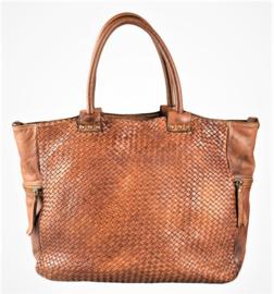 Vintage leren shopper tas gevlochten voorkant bruin