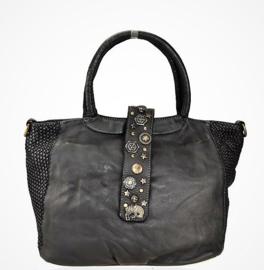 Vintage leren shopper tas met decoratieve band zwart