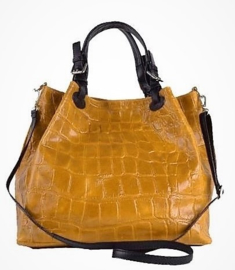 Stylish leren schoudertas crocoprint honinggeel