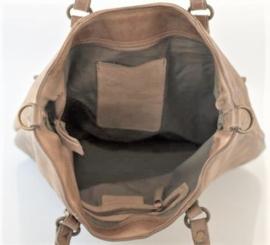 Vintage leren shopper tas klepvakken taupe