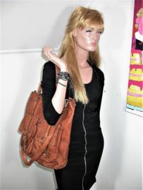 Vintage leren shopper tas diep zwart