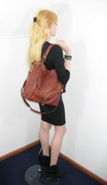 Ruime vintage leren schoudertas / shopper met flap en studs zwart