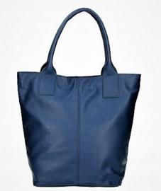 Leren basic shopper met ritssluiting inktblauw