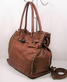 Vintage leren schoudertas / shopper met gesp en studs bruin