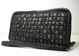 Vintage gevlochten leren phone-portemonnee-clutch studs all-over zwart