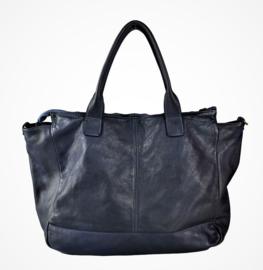 Vintage leren shopper tas met vakken donkerblauw