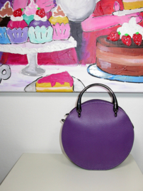 IT BAG leren schoudertasje Round purple