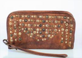 Vintage leren phone-portemonnee-clutch more studs bruin