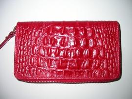 Leren portemonnee croco rood