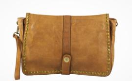 Vintagelook leren schoudertasje / clutch bruin Medium