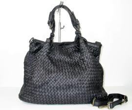 Vintage leren schoudertas / shopper grof gevlochten voorkant zwart