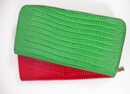 Leren portemonnee hagedissenprint groen