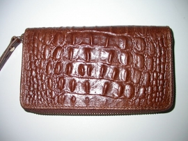 Leren portemonnee croco choco