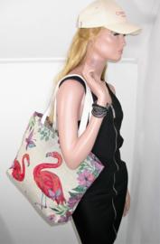 Canvas strandtas / shopper flamingo's multicolor