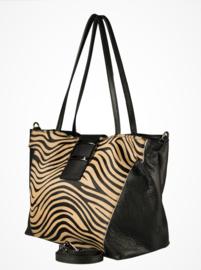 Leren shopper zebraprint zwart / zand