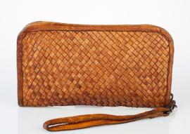Vintage gevlochten leren phone-portemonnee-clutch tan