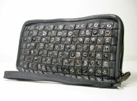 Vintage gevlochten leren phone-portemonnee-clutch studs all-over grijs