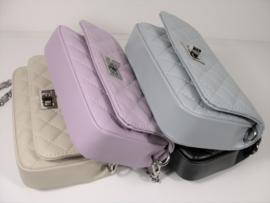 IT BAG Quilted leren designerstyle schoudertasje faded lila