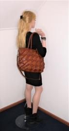 Vintage leren shopper tas gevlochten diagonalen bruin