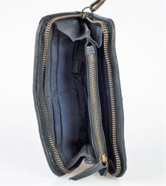Vintage gevlochten leren phone-portemonnee-clutch zwart