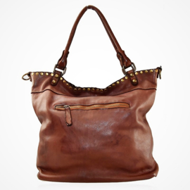 Ruime vintage leren schoudertas / shopper met flap en studs  bruin