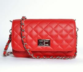 IT BAG Quilted leren designerstyle schoudertasje rood