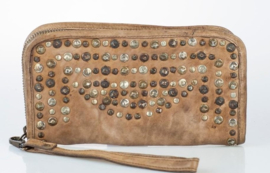Vintage leren phone-portemonnee-clutch more studs taupe