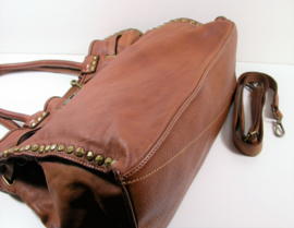 Vintage leren schoudertas / werktas met gesp en studs bruin