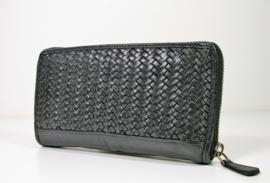 Vintage gevlochten leren portemonnee veel vakjes zwart