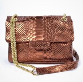 IT BAG Leren designerstyle schoudertasje snakeprint koper metallic