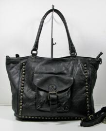 Vintage leren shopper tas met studs  en klepvak zwart