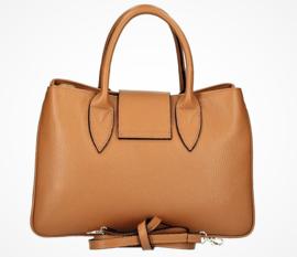 IT BAG Leren citybag / handtas bamboo & sjaaltje inktblauw