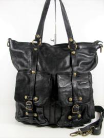 Vintage leren shopper tas klepvakken diep zwart