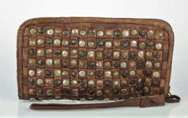 Vintage leren gevlochten phone-portemonnee-clutch studs all-over marrone