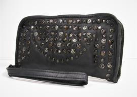 Vintage leren phone-portemonnee-clutch more studs zwart