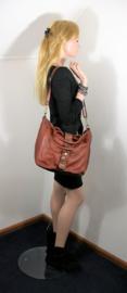 Vintage leren shopper tas met decoratieve band tan