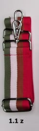 Designerstyle schouderriem 4 strepen (5 kleurencombi's) zilver