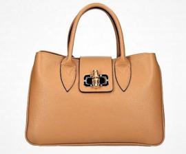 IT BAG Leren citybag / handtas bamboo & sjaaltje trendy tan