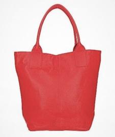 Leren basic shopper met ritssluiting rood