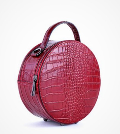 IT Bag leren schoudertasje Round crocoprint rood