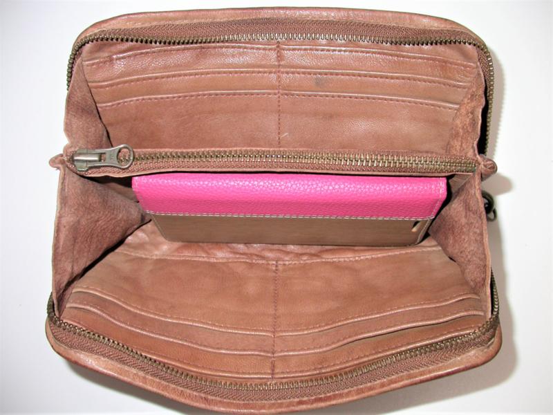 Vintage leren phone portemonnee clutch more studs bruin